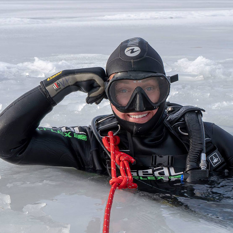 Divemaster Liene Muzikante was engaged in ice diving, photo Valters Preimanis