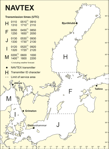 NAVTEX service areas and transmission schedules Baltic Sea, Gulf of Riga