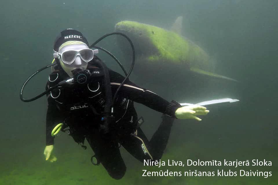 Haizivs un nirēja. Fotogrāfs Māris Binde. Niršanas klubs DAIVINGS.