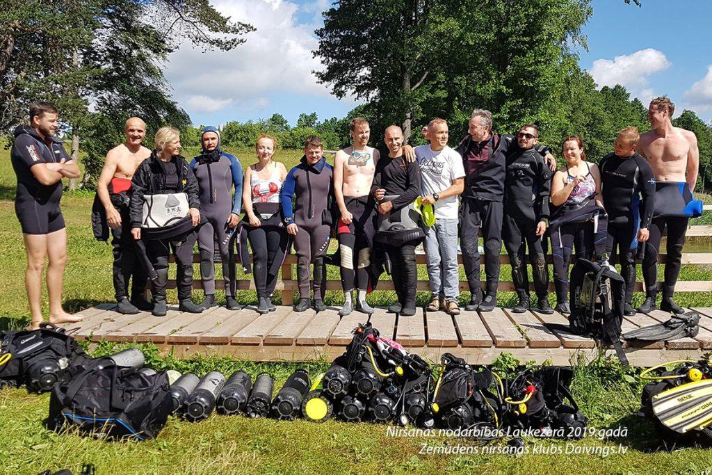 Niršanas nodarbības Laukezerā 2019.gadā Zemūdens niršanas klubs Daivings.lv