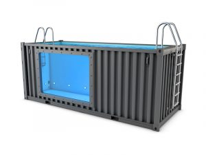 baseinā no konteineriem