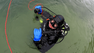 """Diver Gints from scuba diving club """"Diving"""" opens reservoir in Dubkalni quarry"""